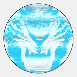 Lineas horizontales del tigre azul claro enojado pegatina redonda