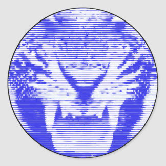 Lineas horizontales del tigre azul enojado pegatina redonda