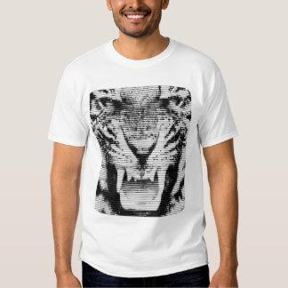 Lineas horizontales del tigre negro enojado remeras