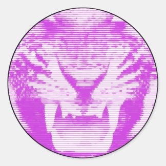 Lineas horizontales del tigre púrpura enojado pegatina redonda