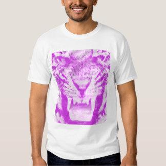 Lineas horizontales del tigre púrpura enojado remera