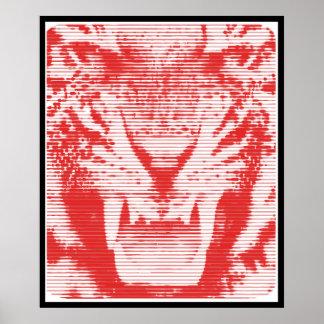 Lineas horizontales del tigre rojo enojado póster