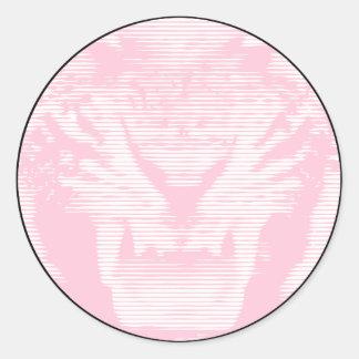 Lineas horizontales del tigre rosado enojado pegatina redonda