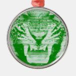 Lineas horizontales del tigre verde enojado ornamento de navidad