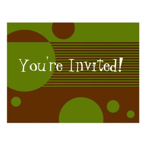Líneas manchadas invitación (aceituna/marrón) tarjeta postal