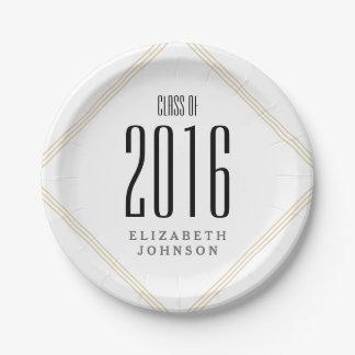 Líneas modernas del oro, graduación personalizada platos de papel