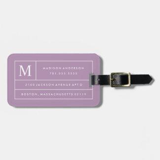 Líneas modernas etiqueta de la lila del equipaje