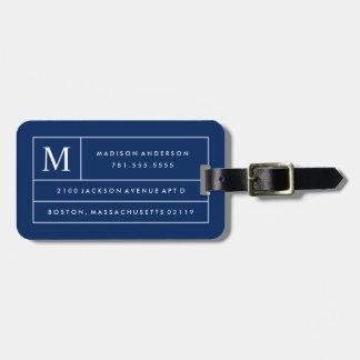 Líneas modernas etiqueta de los azules marinos del