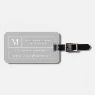 Líneas modernas grises etiqueta del equipaje del |