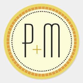Líneas modernas oro del monograma pegatina