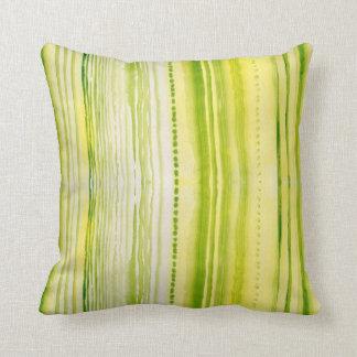 Líneas Musgo-Verdes y amarillas modelo de la Cojín