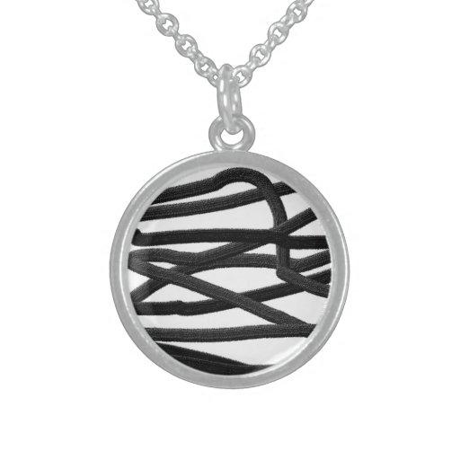 Líneas negras collares de plata esterlina
