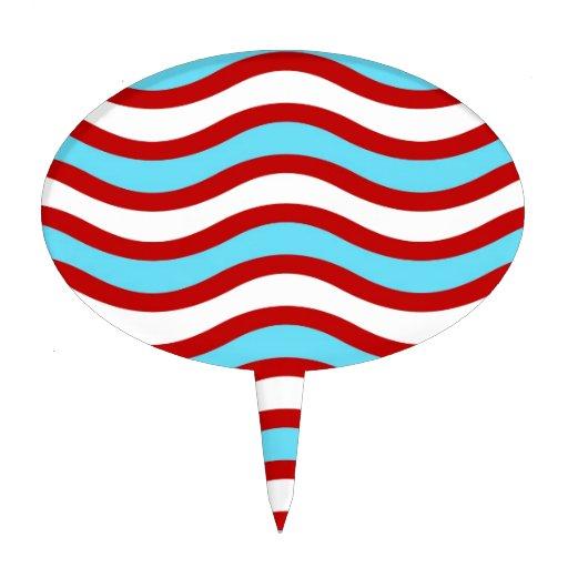 Líneas onduladas blancas rayas de la turquesa roja figuras de tarta