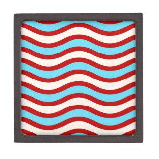 Líneas onduladas blancas rayas de la turquesa roja caja de regalo de calidad