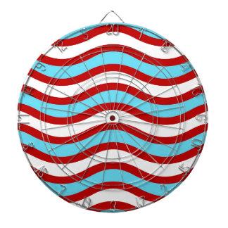 Líneas onduladas blancas rayas de la turquesa roja tablero dardos