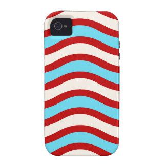 Líneas onduladas blancas rayas de la turquesa roja iPhone 4 carcasa