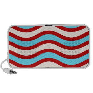 Líneas onduladas blancas rayas de la turquesa roja mp3 altavoz