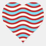 Líneas onduladas blancas rayas de la turquesa roja pegatinas corazon