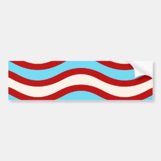 Líneas onduladas blancas rayas de la turquesa roja pegatina para auto