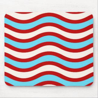 Líneas onduladas blancas rayas de la turquesa roja tapete de ratón