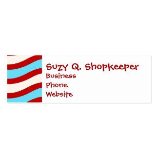 Líneas onduladas blancas rayas de la turquesa roja tarjetas de visita mini
