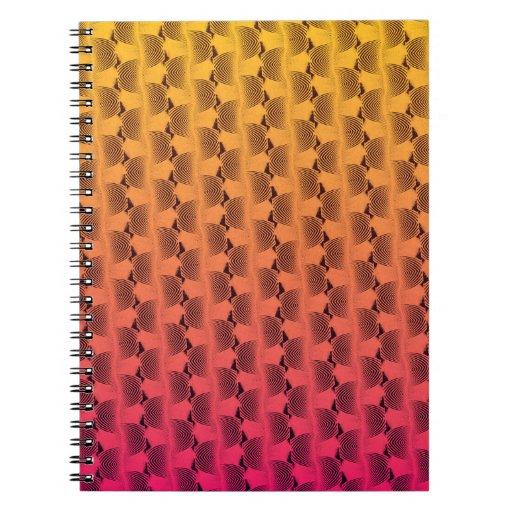 Líneas onduladas en cuaderno tropical de los color