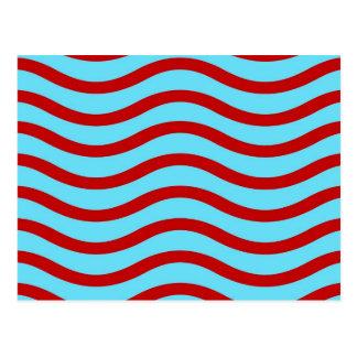 Líneas onduladas modelo de la turquesa roja del postales