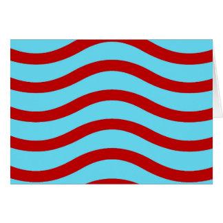 Líneas onduladas modelo de la turquesa roja del tarjeta pequeña