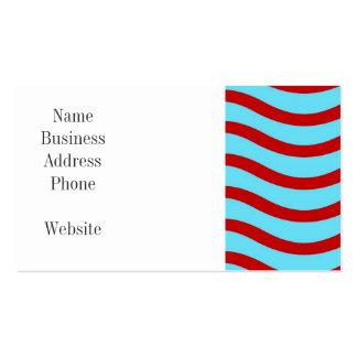 Líneas onduladas modelo de la turquesa roja del tarjetas de visita
