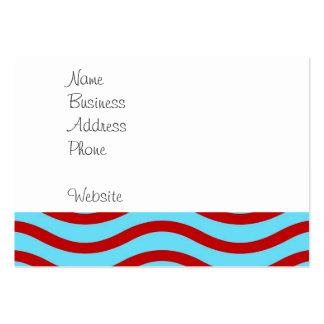 Líneas onduladas modelo de la turquesa roja del tarjetas de visita grandes