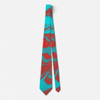 Líneas onduladas monograma de la turquesa roja corbatas personalizadas