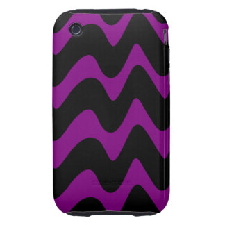 Líneas onduladas negras y púrpuras iPhone 3 tough fundas