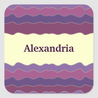 Líneas onduladas pegatina cuadrado púrpura