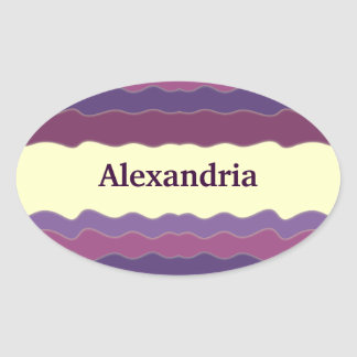 Líneas onduladas pegatina oval púrpura