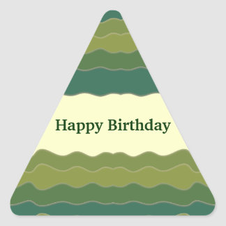 Líneas onduladas pegatina verde del triángulo