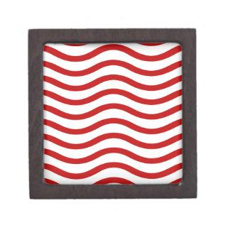 Líneas onduladas rojas y blancas regalos de la div cajas de joyas de calidad