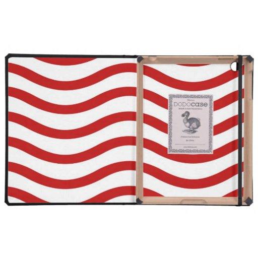 Líneas onduladas rojas y blancas regalos de la div iPad cárcasas