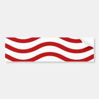 Líneas onduladas rojas y blancas regalos de la div pegatina para auto