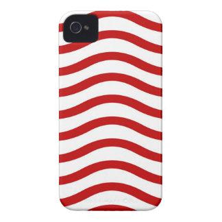 Líneas onduladas rojas y blancas regalos de la iPhone 4 carcasas