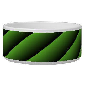 Líneas onduladas verdes hipnóticas cuenco del perr comedero para mascota