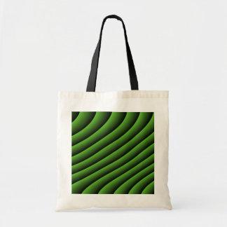 Líneas onduladas verdes hipnóticas la bolsa de asa