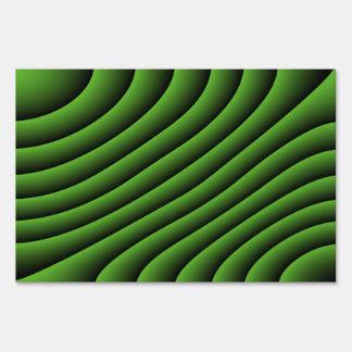 Líneas onduladas verdes hipnóticas muestra señal