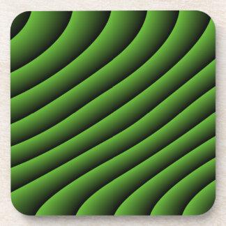Líneas onduladas verdes hipnóticas práctico de cos posavasos de bebida