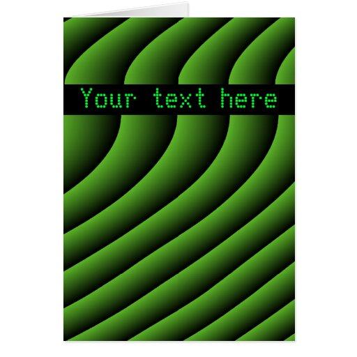 Líneas onduladas verdes hipnóticas tarjeta de feli
