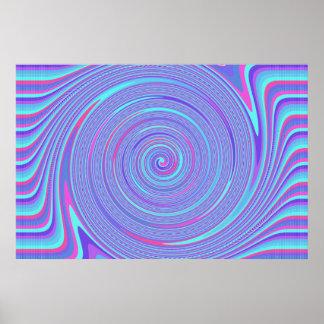 Líneas púrpuras azules y rojas poster del remolino