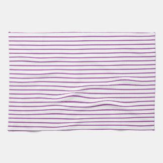 Líneas púrpuras blancas toalla de cocina