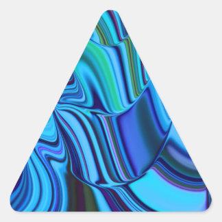 Líneas que fluyen modelo de las sombras azules del pegatina triangular