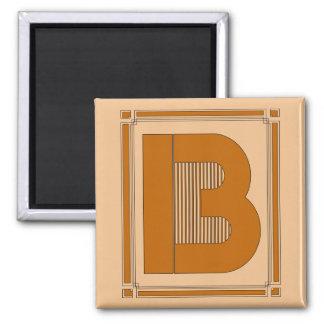 Líneas rectas art déco con el monograma, letra B Imán Cuadrado