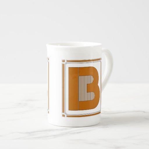 Líneas rectas art déco con el monograma, letra B Taza De Porcelana