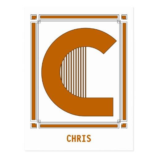 Líneas rectas art déco con el monograma, letra C Tarjeta Postal